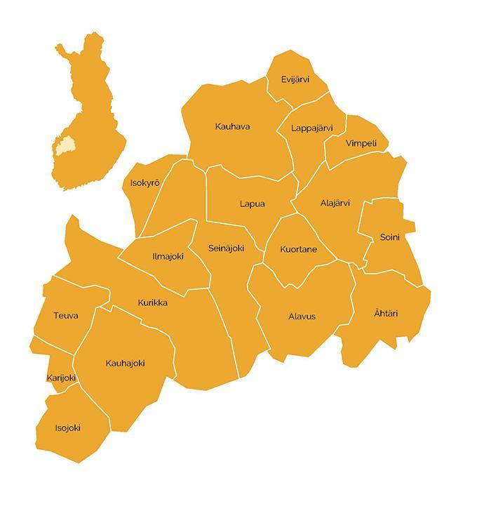 Etelä-Pohjanmaan kartta, josta näkyvät alueen 18 kuntaa sekä maakunna sijoittuminen Suomen kartalla.