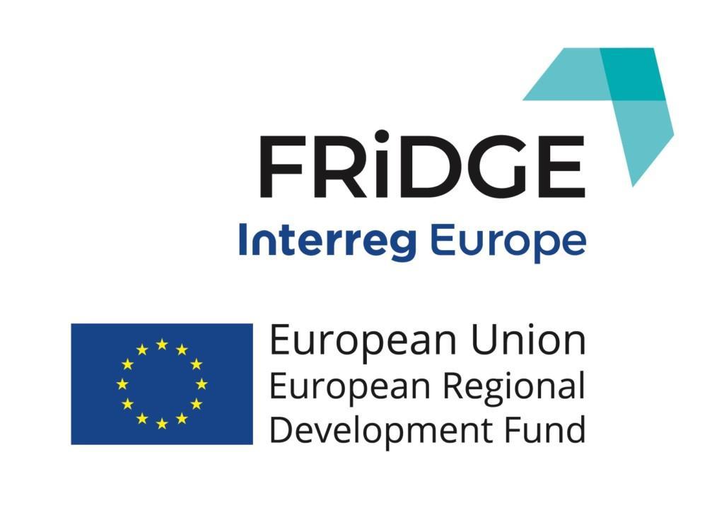 FRIDGE-hankkeen, Interreg Europe -ohjelman ja Euroopan aluekehitysrahaston logot.
