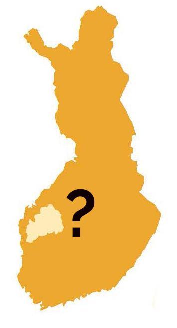 Suomen kartta, josta on korostettu Etelä-Pohjanmaan alue, ja vieressä on kysymysmerkki.