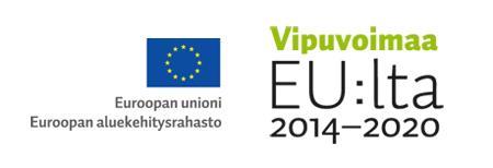 Logo, jossa on tekstit: Euroopan unioni, aluekehitysrahasto ja Vipuvoimaa EU:lta 2014-2020.