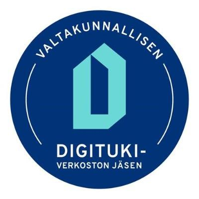 Logo, jossa teksti: Valtakunnallisen digitukiverkoston jäsen.