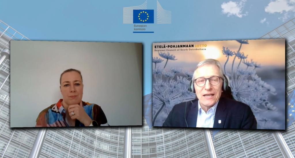 Kuvakaappaus Komissaarin kyselytunti -tilaisuudesta. Jutta Urpilainen ja Asko Peltola keskustelevat etäyhteyden välityksellä.