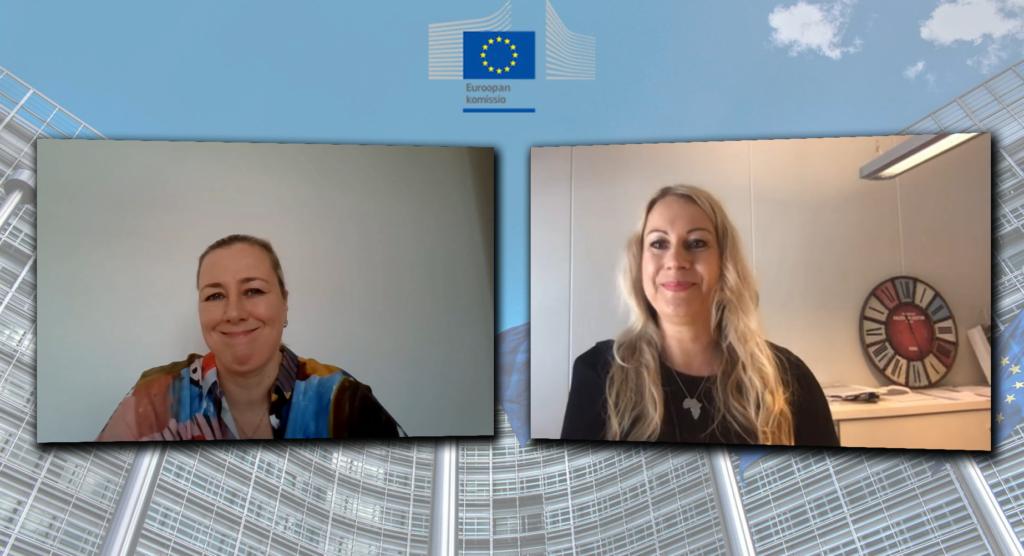 Kuvakaappaus Komissaarin kyselytunti -tilaisuudesta. Jutta Urpilainen ja Elisabet Kivimäki keskustelevat etäyhteyden välityksellä.