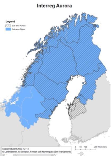 Kartta, jossa näkyy Interreg Aurora -ohjelman aluett Suomessa, Ruotsissa ja Norjassa.