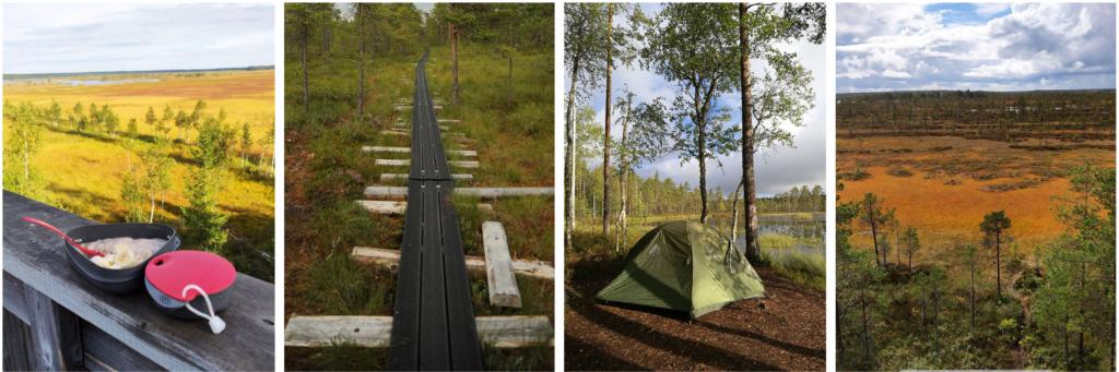 Kuvakollaasi retkeilykuvista Etelä-Pohjanmaan Natura-alueilla