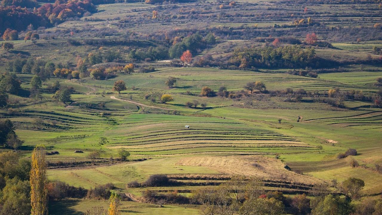 Vuoristoinen peltomaisema Harghitan alueelta Romaniasta.