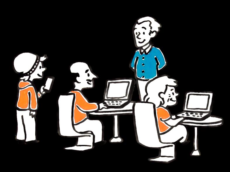 Piirretty kuva. Pojalla mobiililaite. Istumassa on mies ja nainen, pöydällä on tietokoneet.