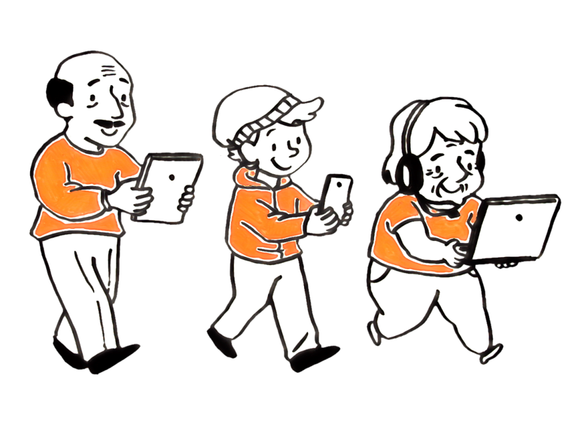 Piirretty kuva. Nainen, poika ja mies kävelevät rivissä. Kaikkien katse on tiiviisti tietokoneessa, mobiililaitteessa tai tabletissa.