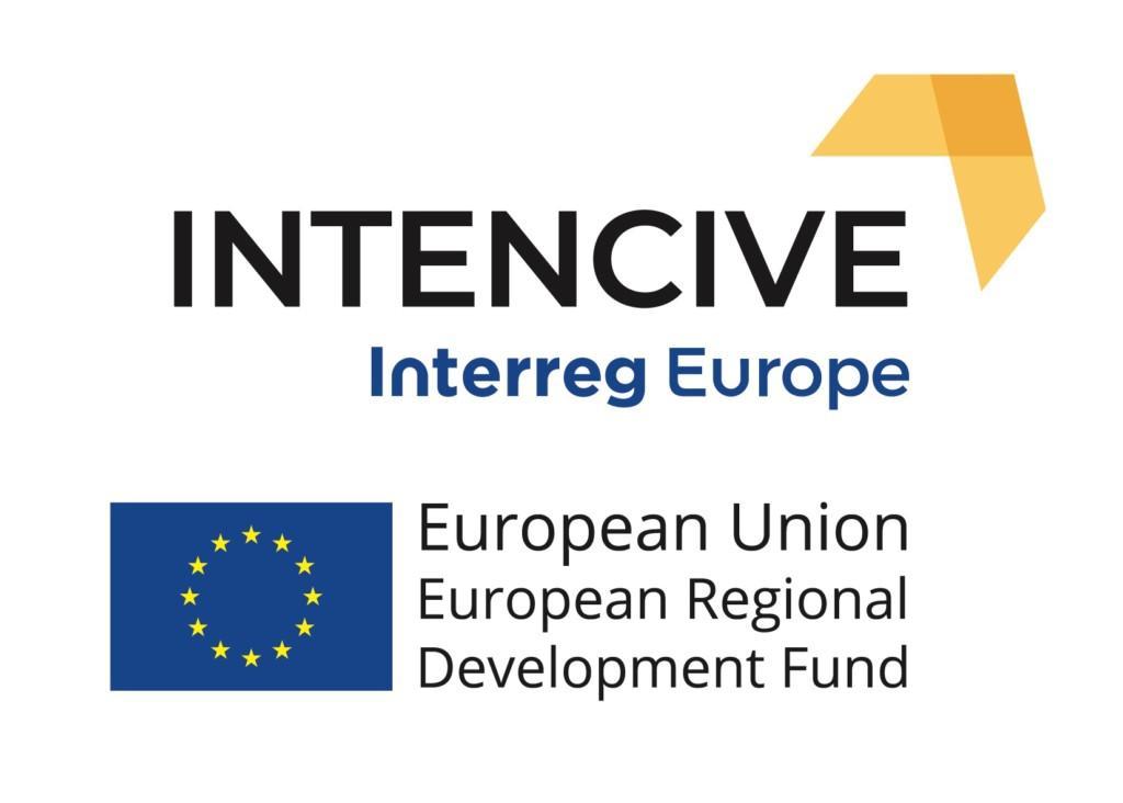 Intencive-hankkeen, Interreg Europe -ohjelman ja Euroopan unionin rakennerahaston logot.
