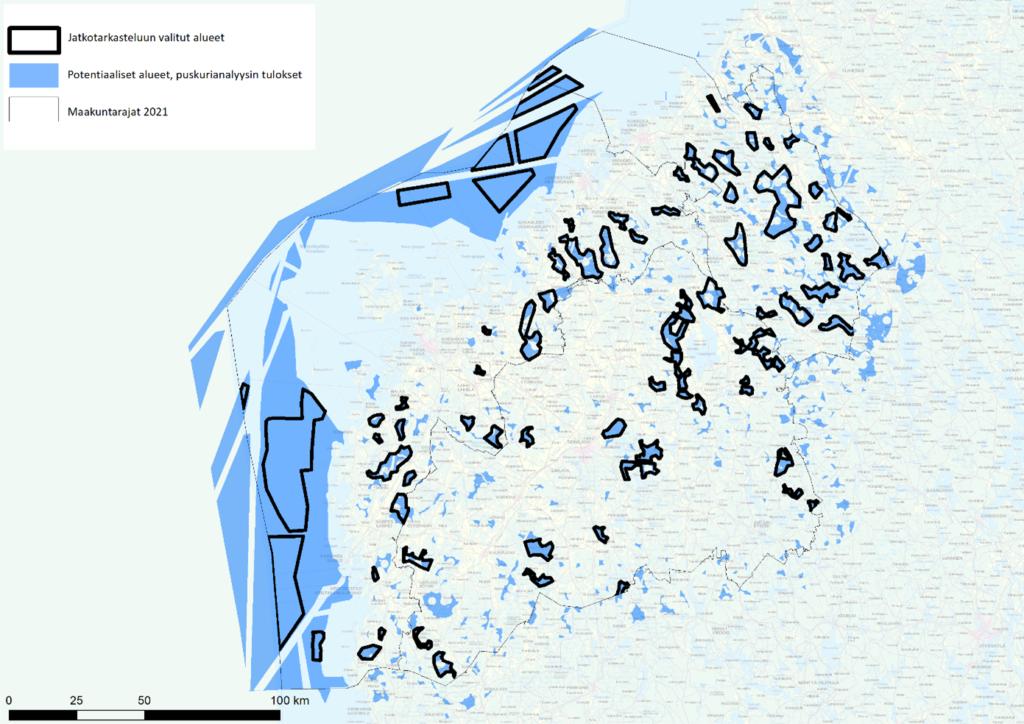 Potentiaaliset tuulivoima-alueet Etelä-Pohjanmaalla, Pohjanmaalla ja Keski-Pohjanmaalla.