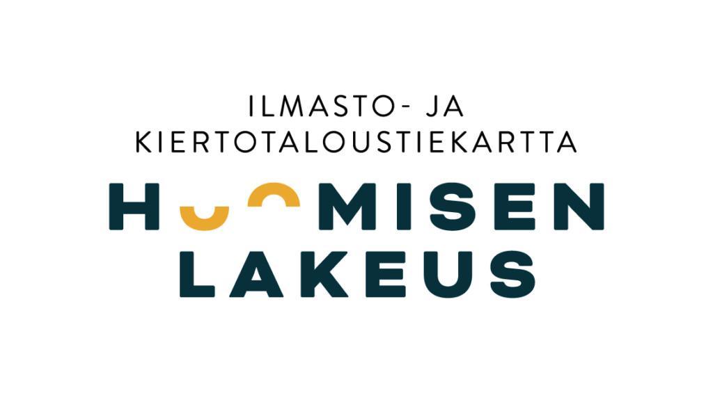 Kuvassa logon muotoon visualisoitu teksti: ilmasto- ja kiertotaloustiekartta. Huomisen lakeus.