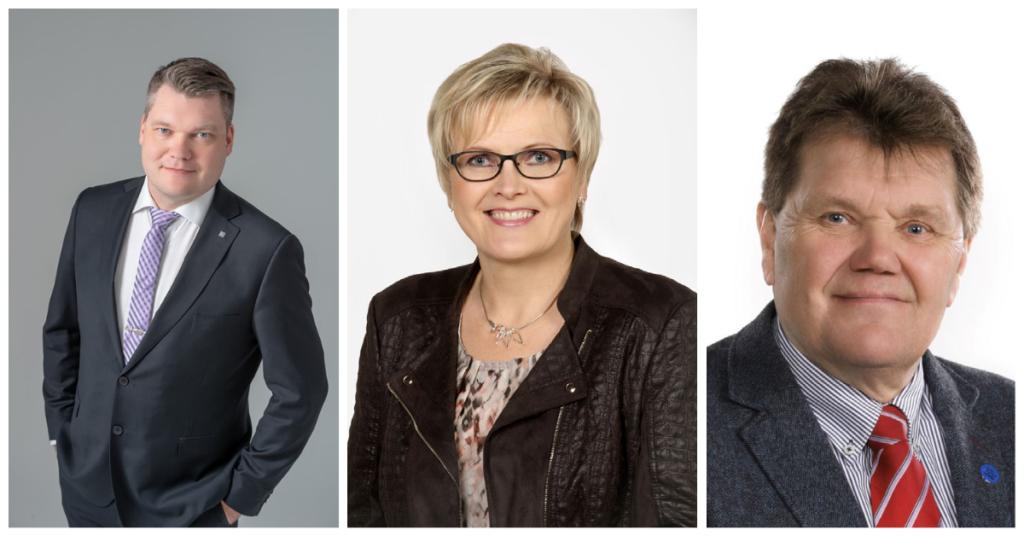 Maakuntavaltuuston kauden 2021-2025 puheenjohtajiston jäsenten kuvat.